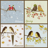 Birds in four seasons- spring, summer, autumn, winter — Stock Vector