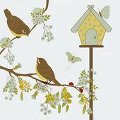 Birds on branch and butterflies in garden — Stock Vector