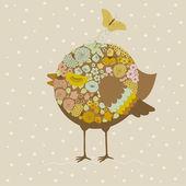 Cute bird and butterfly — Stok Vektör