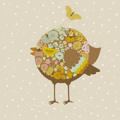 Cute bird and butterfly — Stock vektor