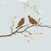 Birds on branch — Stock Vector