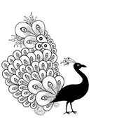 Peacock black and white — Stock Vector