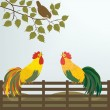 Stock Vector: Two cocks on the fence