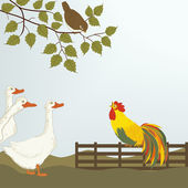 A cock on the fence with gooses — Stock Vector