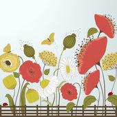 Jarní květiny a motýli — Stock vektor