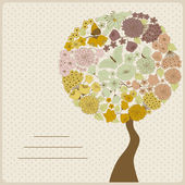 Card with abstract tree with flowers and butterflies — Cтоковый вектор