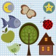 Set of nature textile stickers — Stock Vector #45158853