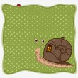 Birthday greeting card with snail — Stock Vector