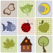 Set of nature textile stickers — Stock Vector #46704159