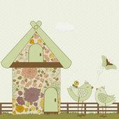 Cute birds and floral birdhouse  — Stock Vector