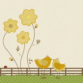 Cute birds with yellow flowers — Stock Vector