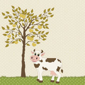 Cow and apple tree — Stock Vector