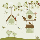 Cute birds with birdhouse  — Stock Vector