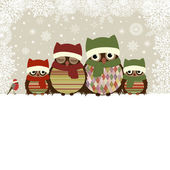 Christmas greeting card with family of owls — Stock Vector