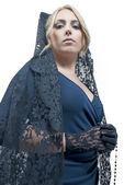 Woman wearing blanket — Stock Photo