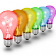 Unique Idea Lightbulbs on White — Stock Photo