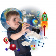 Science Boy Exploring and Learning Space - Stock Photo