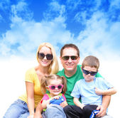 Happy Family in Summer with Clouds — Stock Photo