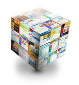 3d internetové stránky box na bílém — Stock fotografie