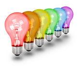 Unique Idea Lightbulbs on White — Stock Photo