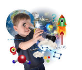 Science Boy Exploring and Learning Space — Stockfoto