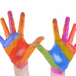 Child Art Hands Painted on White Background — Stock Photo