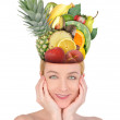 Woman with Fruit Food Head — Stock Photo