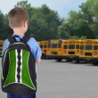 Stock Photo: School Boy Looking at Bus with Bookbag