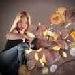 Diet Woman Kicking Junk Food — Stock Photo