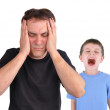 Stress Dad and Screaming Upset Boy — Stock Photo