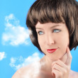Woman Thinking with Clouds — Stock Photo