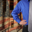 Law Justice Man with Flag - Stock Photo