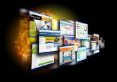 Sites de vitesse internet sur fond noir — Photo