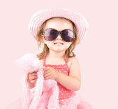 Young Pink Princess Child with Sunglasses — Stock Photo