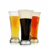 Alcohol Beer Glasses on White — Stock Photo