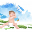 Baby Painting Green Nature Sky - Stock Photo