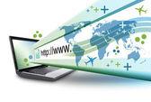 Resumen el ordenador portátil internet con url — Foto de Stock