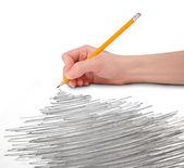 De la mano con garabato lápiz — Foto de Stock