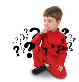 Young Boy with Thinking about Question — Stock Photo