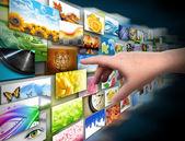 Hand on Media Technology Photo Gallery — Stock Photo