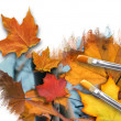 Painting Fall Season Leaves on White — Stock Photo