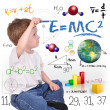 Royalty-Free Stock Photo: Young Math Science Boy Genius Writing