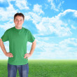 Green Nature Man Standing in Clouds and Grass — Stock Photo