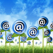 Email Internet Inbox Flowers Sprouting - Stock Photo