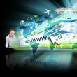 Woman on Laptop with Black Internet Projection — Stock Photo #15656825