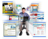 Business man Sitting with Internet Web Sites — Stock Photo