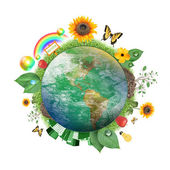 Gröna naturen jorden ikonen — Stockfoto