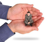 Business Man Trapped in Hand — Stock Photo
