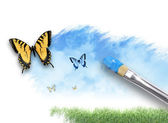Nature Artist Painting Cloud Sky with Butterfly — Stock Photo