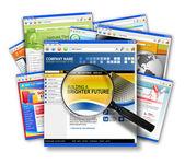 Internet Web Site Search Collage — Stock Photo